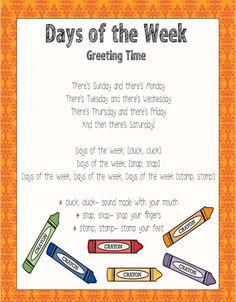 Days of the Week sing to the tune of The Adam's Family Song (find on youtub. Kindergarten Songs, Preschool Music, Preschool Lessons, Preschool Classroom, Preschool Learning, Preschool Activities, Preschool Transition Songs, Early Learning, Halloween Songs Preschool