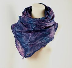 Very pretty! Cobweb Lacy Hand Felted Scarf Shawl Wrap  Navy Blue by ZMFelt, £55.00