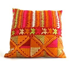 The Indian folk art of Phulkari embroidery is created by stitching vibrant cotton or silk threads together in alternating patterns. Phulkari are wedding dowry blankets that brides in Pakistan and India spend years working on for a part of their wedding. We used vintage Phulkari and vintage linen as backing for these lovely pillows. $189 #vintage #phulkari #pillow #gift #globalgift #uniquegift