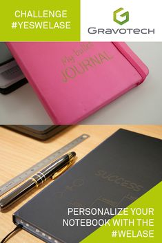 Personalize your notebook with the WeLase. This compact laser engraving machine engraves everything, everywhere. Laser Engraving, Compact, Notebook, Challenges, Make It Yourself, The Notebook, Exercise Book, Notebooks