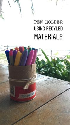 A simple DIY pen holder using recycled materials.