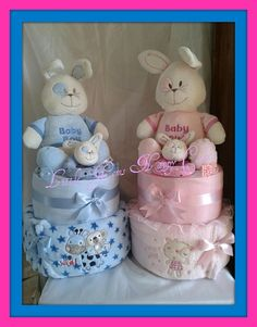 Bunny nappy cakes by Little gems nappy cakes