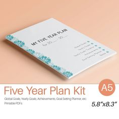 5-Jahres-Plan A5 bedruckbar. Filofax A5 fügt von EasyLifePlanners