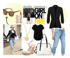 jennifer lawrence low cost look by ornella-basso on Polyvore featuring polyvore fashion style Miss Selfridge Charles by Charles David La Diva Argento Vivo MANGO Maybelline White Label clothing