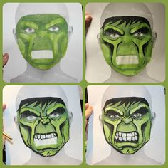 The incredible hulk face paint sketch on face template by MissMakeOver Annemie Senden inspired by DaizyDesign