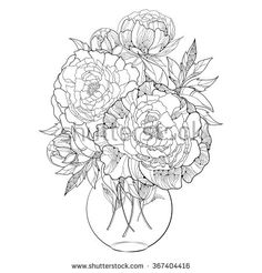 Bouquet with five ornate peony flower and leaves in the round transparent vase isolated on white background. Floral elements in contour style.