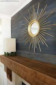 Sunburst Mirror Rustic Beam Mantel Fireplace Makeover Great Examples of Easy, Inexpensive DIY Wall Art Decor, Home Accents, Interior, Diy Furniture, Mirror Inspiration, Home Decor, Sunburst Mirror, Diy Wall, Fireplace Makeover