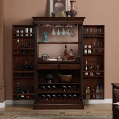 American Ashley Heights Home Bar Wine Cabinet (Ashley Bar), Brown