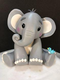 Fondant Baby elephant cake topper – Famous Last Words Deco Elephant, Elephant Cake Toppers, Elephant Baby Shower Cake, Elephant Cakes, Baby Shower Cakes, Fondant Cake Toppers, Fondant Baby, Fondant Figures, Fondant Cupcakes