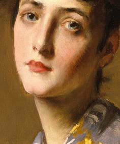 "William Merritt Chase, ""Girl in a Japanese Kimono - Detail."