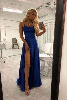 Spaghetti Straps Royal Blue Simple Cheap Elegant Long Prom Dress Z1518 – Bohogown