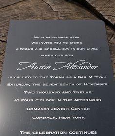 Austin: Bar Mitzvah invitation printed on black lucite