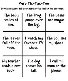 verb tic-tac-toe - could add some helping verbs to make it more challenging. Grammar Activities, Teaching Grammar, Teaching Writing, Therapy Activities, Teaching English, Teaching Ideas, Teaching Resources, 2nd Grade Ela, 2nd Grade Reading