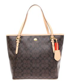 $229.00 ~ Brass & Brown Tan Zip-Top Peyton Signature Tote #zulily #sponsored http://ow.ly/AMStG #zulilyfinds