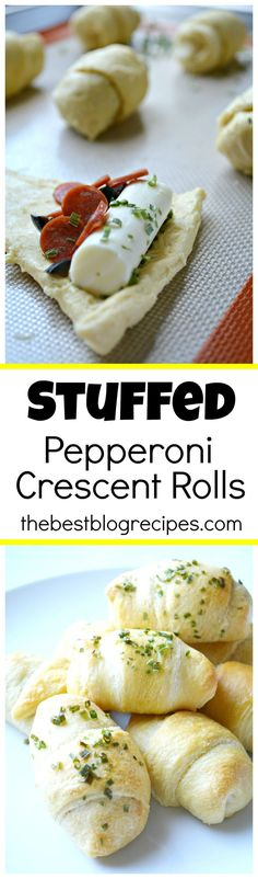 Stuffed Pepperoni Pizza Crescent Rolls are so easy to make, there is minimal clean up and your family will love them! thebestblogrecipes.com