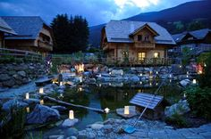 St Martin Chalets set up for an evening wedding ceremony