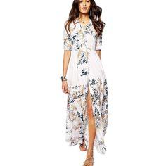 white print floral shirt dress