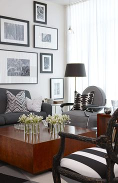 yummy to the gray & caramel tones! Modern Chic Living Room by Sarah Richardson