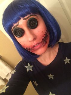 Coraline costume 2015 created with silicone modeling substance