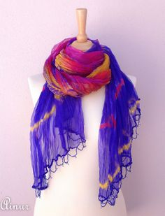 Silk scarf-Purple-Pink-Multicolor-Beaded edge- All season -Loop Scarf- Huge scarf-Luxury-authentic