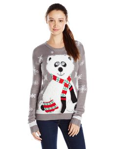 Derek Heart Junior's Panda Bear Pullover Tunic Ugly Christmas Sweater, Grey, Large