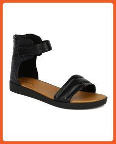 Qupid BK34 New Women Lizard Leatherette Ankle Strap Open Toe Platform Flat Sandal - Black (Size: 6.5) - Sandals for women (*Amazon Partner-Link)