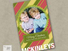Personalized Printable Photo Christmas Card - CC1201 Colorful Diagonal Stripes