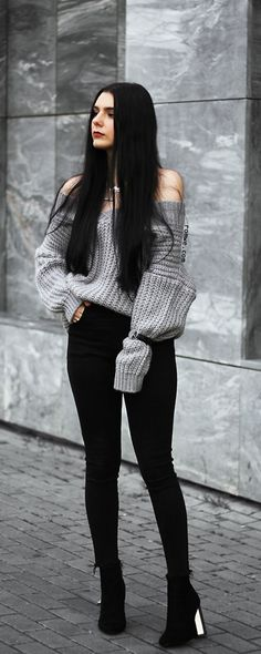Grey V Neck Drop Shoulder Chunky Knit Sweater