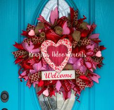 Deco Mesh Valentine Wreath, Burlap Valentine Wreath, Deco Mesh Heart Wreath, Valentines Day Wreath, Valentine Heart Wreath, Welcome Wreath by KenziesAdoornments on Etsy