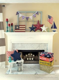 of July Decorations. Find fabulous of July decorating ideas to inspire you! The best red, white & blue decor ideas! Fourth Of July Decor, 4th Of July Decorations, 4th Of July Wreath, July 4th, Summer Mantel, Fireplace Decor Summer, Fabulous Four, Art Deco, July Crafts