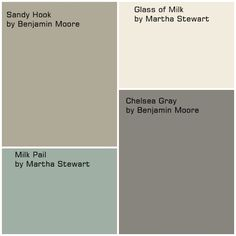 Exterior paint color Glass of Milk and Chelsea Gray for cabinet colors, Milk Pail for wall color, and Sandy Hook for family room and hallway?