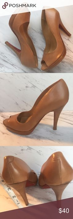 ALDO Nude Peep Toe Heels with Platform - sz. 5 These Nude /camel color Heels can take you from work to a night out on the town.  They are gently loved, and the leather is very soft.  There is a small distressed  mark at the top of the right heel as shown in the photo. aldo Shoes Heels
