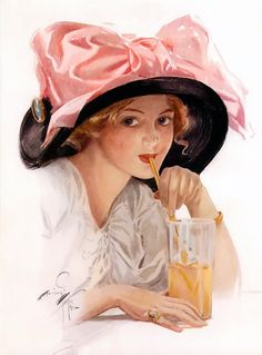 Harrison Fisher (1877-1934) - American Girl Sipping Lemonade (1911).  Fisher Girls became rivals to those of Gibson and Christy.