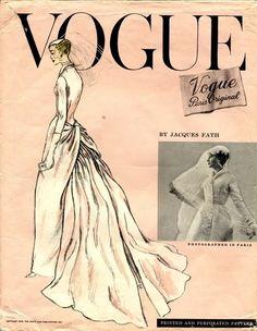 Vintage Vogue bridal gown pattern, 1956 by Jacques Fath