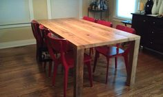 """Modern solid reclaimed wood table. We make tables in any size. 72"""" l x 34"""" w x 30""""  tall"""