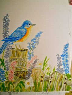 Blue Bird Garden, an acrylic on paper by Kat Mereand | Flickr - Photo Sharing!
