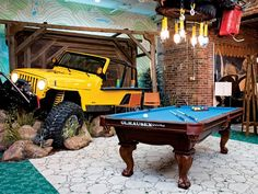 Jeep In The Man Cave Games Room Billiards Table Home Decor