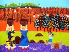 RODRIGUES LESSA TEMA COLHEDORES DE CAFÉ A VENDA COM AJUR SP (Painting),  30x40 cm por Arte Naif AJUR SP VENDEDOR E DIVULGADOR DA ARTE NAIF BRASILEIRA