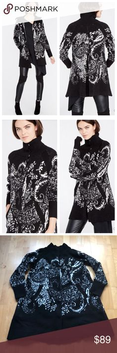 Rachel Roy Paisley Swing Sweater Coat NWT Stay warm in this luxe sweater coat by Rachel Roy. Pretty black and white paisley print. Sculpted like a jacket but made of Knit. Snap front closure. Mid thigh hemline. Acrylic/polyester/elastane. New with tags. Size S/M (fits both) RACHEL Rachel Roy Jackets & Coats