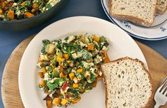 Sweet Potato Veggie Scramble by dailyburn: This healthy breakfast may take a little more time to whip up than your usual scrambled eggs, but it's well worth the effort. The colorful vegetables increase your nutrient intake and add to the dish's savory flavor. Plus, it tastes great as leftovers the next day. 158 calories/serving #Eggs #Scramble #Healthy