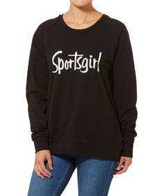 e0c854c201 Your weekend wear just lifted its game with the Weekender Logo Sweat in  black. This casual sweat features raw edge trim with Sportsgirl logo front.