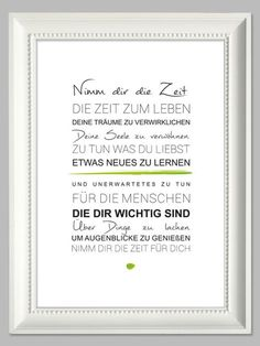 """Original print - """"Take your time"""" The Words, Cool Words, Words Quotes, Life Quotes, Sayings, German Quotes, German Words, Best Quotes, Quotations"""