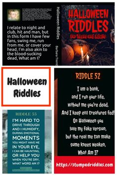 If trick or treating isn't an option, a Halloween Party Game of Riddles will fill some fun time for the gang. Check out StumpedRiddles.com for access to riddles online, or get the Halloween Riddle Book for the group. Terrific gift ideas, for parties, for prizes, stocking stuffers, gifts or something to do on Halloween or just plane 'ole mind challenge. #Halloween #halloweenbooks #halloweenriddles #riddles #brainteasers #riddles #stumped #halloweenpartyideas Halloween Riddles, Halloween Party Games, Halloween Books, Halloween Night, Kindergarten Age, Famous Cartoons, Red Party, Brain Teasers, Holiday Activities