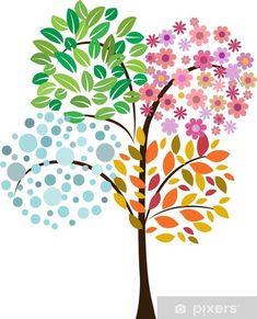 Four Seasons Painting, Four Seasons Art, Trees For Kids, Art For Kids, Tree Drawing For Kids, Tree Drawing Simple, Tree Illustration, Colorful Trees, Button Art