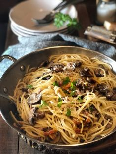 Pasta with Pancetta and Mushrooms • Keeping It Simple Blog