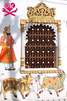 Udaipur, Rajasthan- Hinduism art on wall, India Indian Architecture, Architecture Details, Asian Windows, Udaipur India, Bollywood, Global Design, Cultural, Incredible India, Indian Art