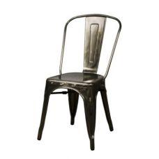 Metroline Tall Back Metal Chair Zinc Glossy