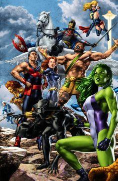 BlackKnight SheHulk Hercules Wonderman BlackWidow BlackPanther Quicksilver Falcon Tigra MsMarvel