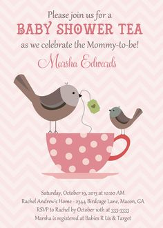 birds u0026 teacup baby shower tea invitation by