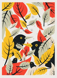 Nature print, illustrated prints of birds and nature. Vogel Illustration, Autumn Illustration, Graphic Design Illustration, Nature Prints, Bird Prints, Tattoo Motive, Posca, Bird Drawings, Bike Art
